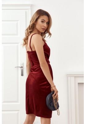 Elegantní velurové šaty s třpytivým brokátem v bordó barvě