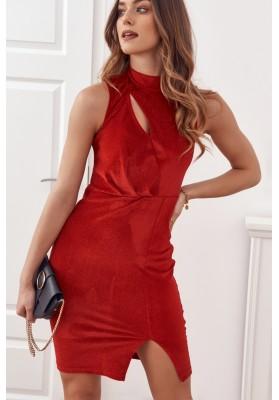 Elegantní šaty s červenými třpytkami
