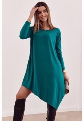 Asymetrické oversize šaty s odhalenou částí na rameni, zelené