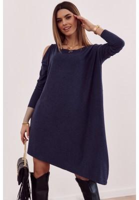 Asymetrické oversize šaty s odhalenou částí na rameni, modré