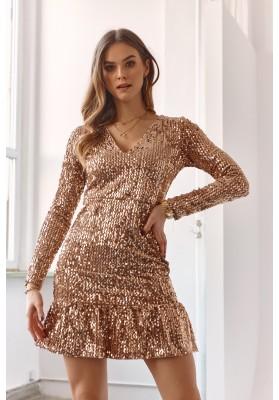 Zlaté šaty z velurové látky potažené flitry