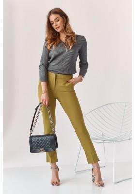 Úzké kalhoty s naznačenými záhyby, zelené