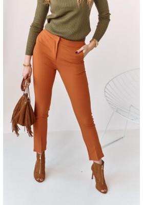 Úzké kalhoty s naznačenými záhyby, oranžové