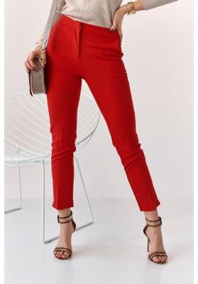 Úzké kalhoty s naznačenými záhyby, červené