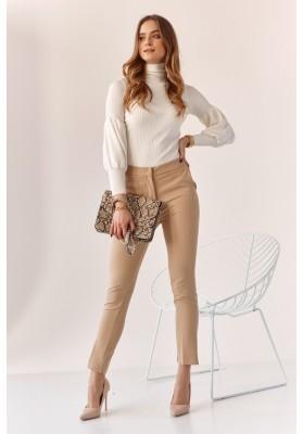 Úzké kalhoty s naznačenými záhyby, béžové
