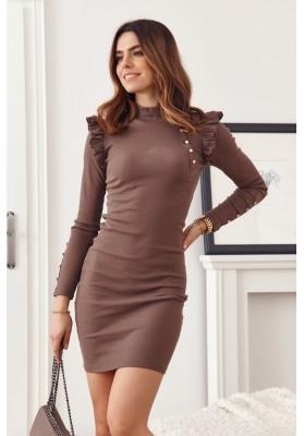 Základní, pouzdrové, rolákové šaty s dlouhými rukávy, hnědé