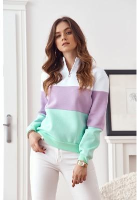 Moderní, barevná mikina s výstřihem na límci, bílá