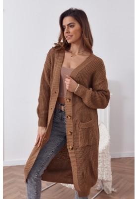 Dlouhý teplý svetr se zapínáním na knoflíky, hnědý