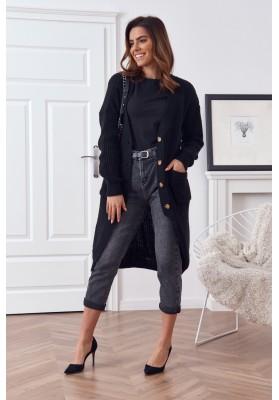 Dlouhý teplý svetr se zapínáním na knoflíky, černý