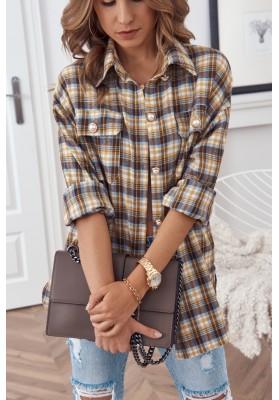 Trendy károvaná košile, se zapíná na perleťové knoflíky, žlutá