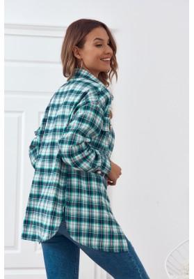 Trendy károvaná košile, se zapíná na perleťové knoflíky, zelená