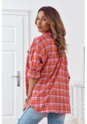 Trendy károvaná košile, se zapíná na perleťové knoflíky, oranžová
