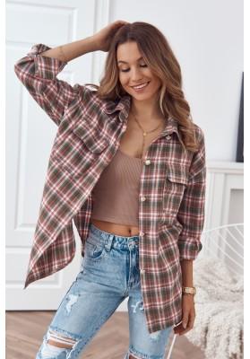 Trendy károvaná košile, se zapíná na perleťové knoflíky, khaki