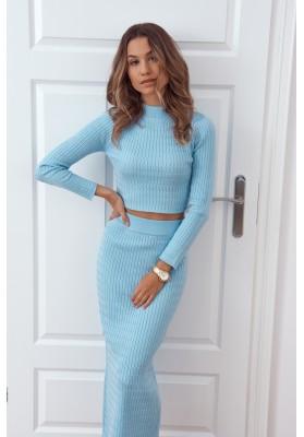 Pletená dámská souprava se sukní a topem, modrá