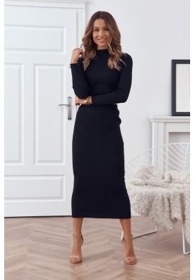Pletená dámská souprava se sukní a topem, černá