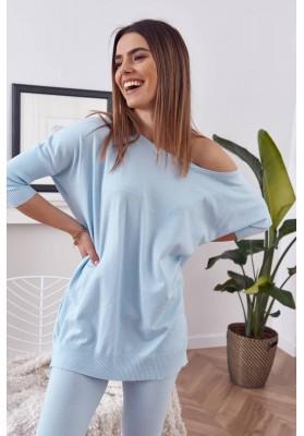 Pohodlná souprava pletené halenky s kalhotami, modrá
