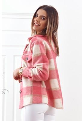 Růžová károvaná bunda s límcem ve výstřihu