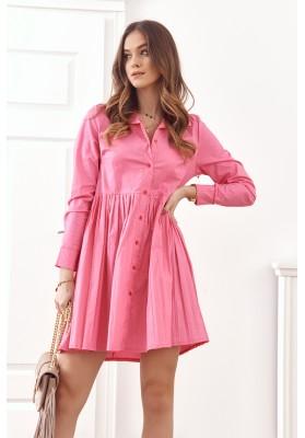 Oversize, košilové šaty se zapínáním na knoflíky, růžová