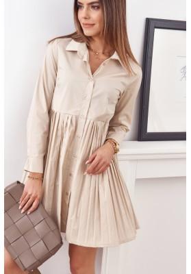 Oversize, košilové šaty se zapínáním na knoflíky, béžové