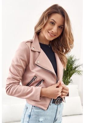 Nadčasová, ženská, krátká semišová bunda, růžová