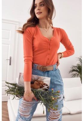 Tenký dámský svetr zapínaný na knoflíky s výstřihem, oranžový