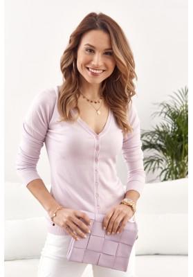 Tenký dámský svetr zapínaný na knoflíky s výstřihem, fialový