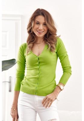 Tenký dámský svetr zapínaný na knoflíky s výstřihem, zelený