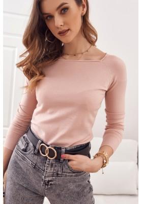 Jednoduchý top / tričko lodičkovým výstřihem a dlouhým rukávem, růžový