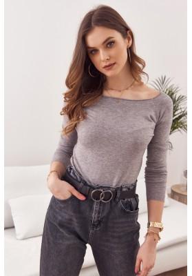 Jednoduchý top / tričko lodičkovým výstřihem a dlouhým rukávem, šedý