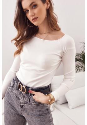 Jednoduchý top / tričko lodičkovým výstřihem a dlouhým rukávem, bílý