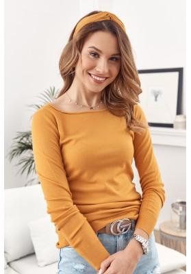 Jednoduchý top / tričko lodičkovým výstřihem a dlouhým rukávem, žlutý