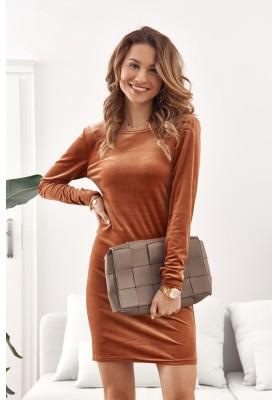 Moderní, krátké minišaty z módního velurového materiálu, oranžové