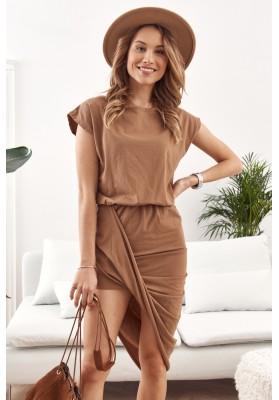 Asymetrické šaty s krátkým rukávem a lodičkovým výstřihem, hnědé