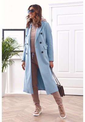 Elegantní, dlouhý kabát s podšívkou, modrý