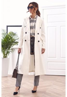 Elegantní, dlouhý kabát s podšívkou, bílý