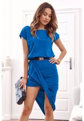 Asymetrické šaty s krátkým rukávem a lodičkovým výstřihem, modré