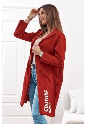 Moderní, dlouhá, dámská mikina s kapucí, bordó