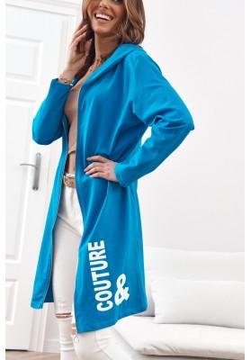 Moderní, dlouhá, dámská mikina s kapucí, modrá