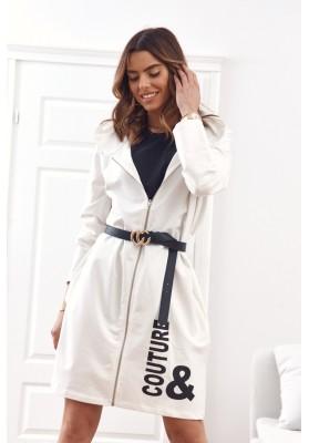 Moderní, dlouhá, dámská mikina s kapucí, bílá