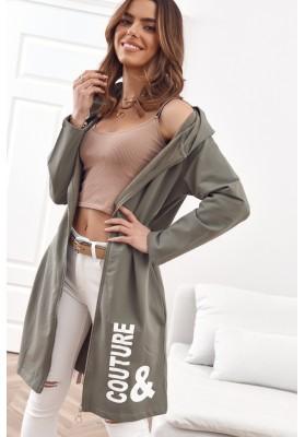 Moderní, dlouhá, dámská mikina s kapucí, khaki