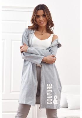 Moderní, dlouhá, dámská mikina s kapucí, šedá