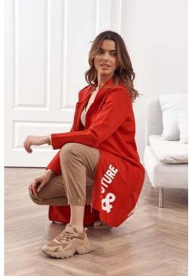 Moderní, dlouhá, dámská mikina s kapucí, červená