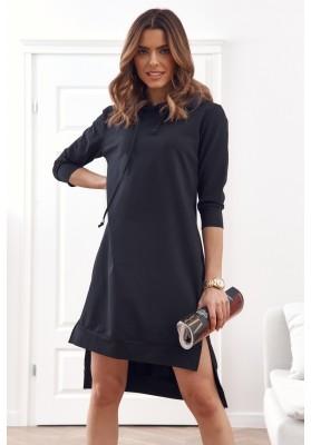 Pohodlné, jednoduché bavlněné šaty s kapucí, černé