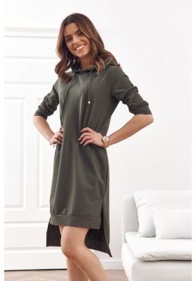 Pohodlné, jednoduché bavlněné šaty s kapucí, khaki