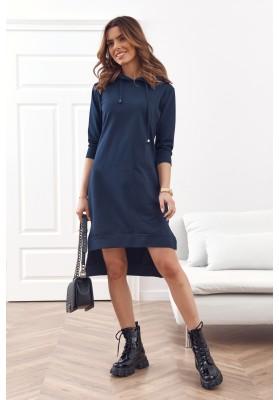 Pohodlné, jednoduché bavlněné šaty s kapucí, modré