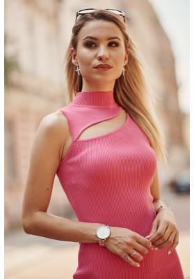 Pohodlné mini šaty se vsazeným otvorem nad prsy, růžové