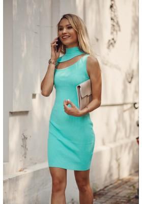 Pohodlné mini šaty se vsazeným otvorem nad prsy, zelené