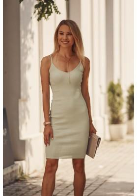 Nadčasové, přiléhavé šaty v mini délce na ramínka, zelené