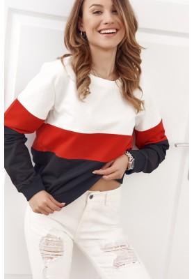Mikina klasického střihu s barevnými pruhy, červená / bílá