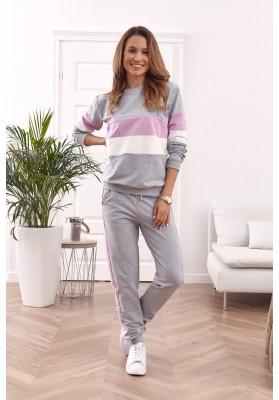 Klasická, bavlněná, dámská tepláková souprava, šedá / fialová